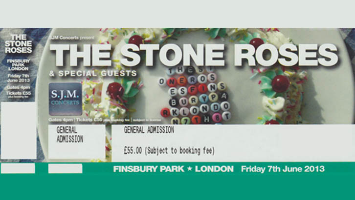 Stone Roses Finsbury Park Ticket