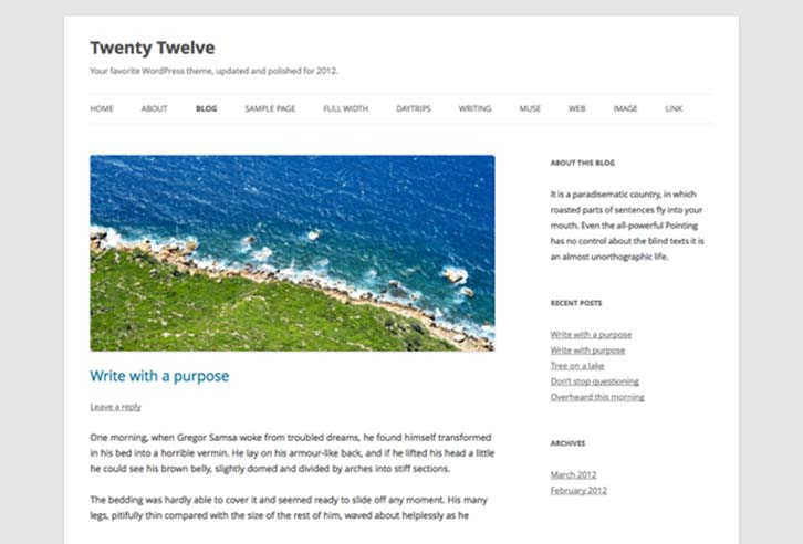 WordPress 3.5 Twenty Twelve