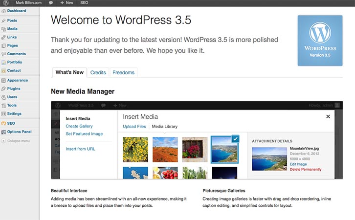 WordPress 3.5 about screen