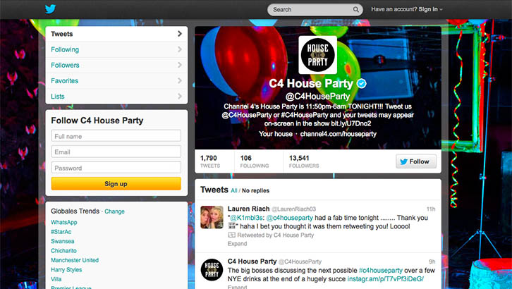 C4 House Party Twitter