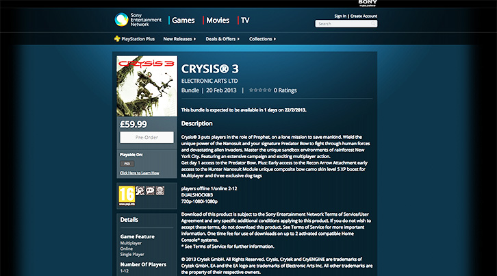 PS Store Crysis 3